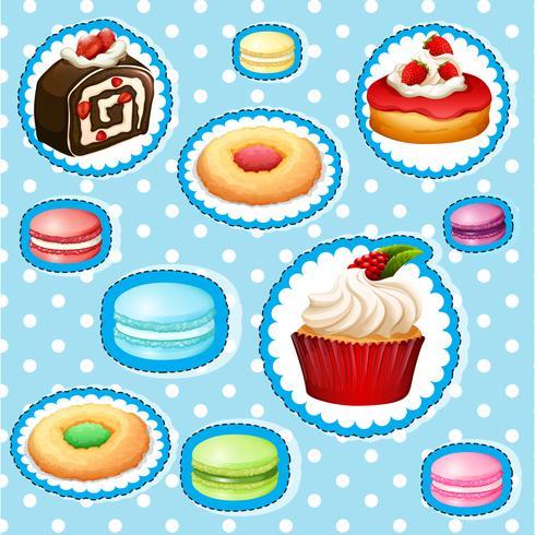 Sticker met verschillende soorten desserts