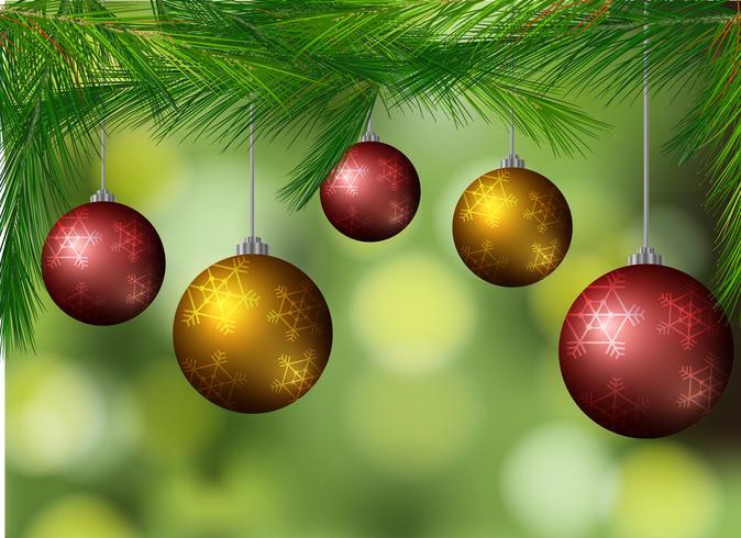 Hintergrund mit Weihnachtskugeln auf dem Baum