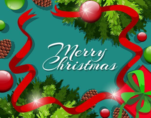 Modèle de carte de joyeux Noël avec ornements et pommes de pin