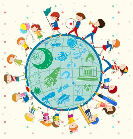 Kinder lieben Wissenschaft auf der ganzen Welt vektor