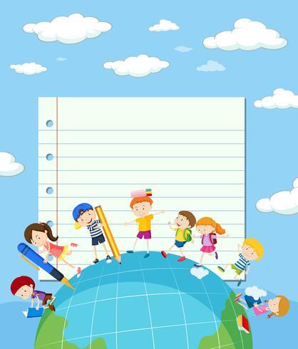 Lijn papieren sjabloon met kinderen op aarde