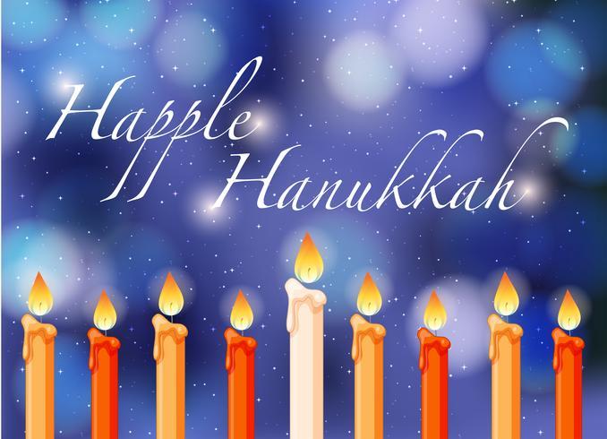 Feliz Hannukkah tema com luz de velas