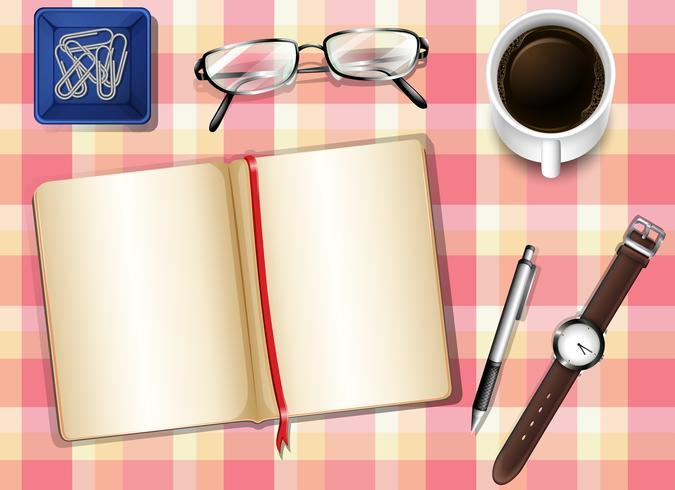 Een topview van een tafel met dingen