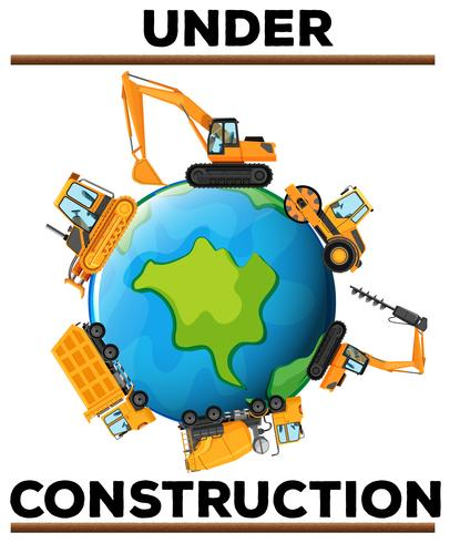 Sob cartaz de construção com máquinas na terra