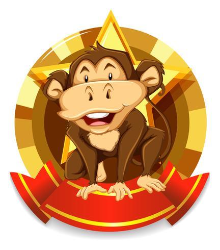 Bannerontwerp met wilde aap