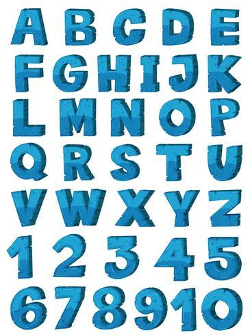 Engelska alfabetet teckensnittsdesign i blå färg