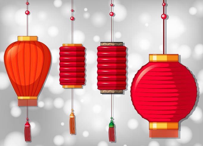 Vier Chinese lantaarns in verschillende ontwerpen