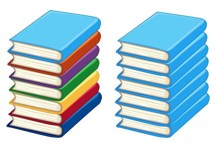 Dos pilas de libros gruesos.