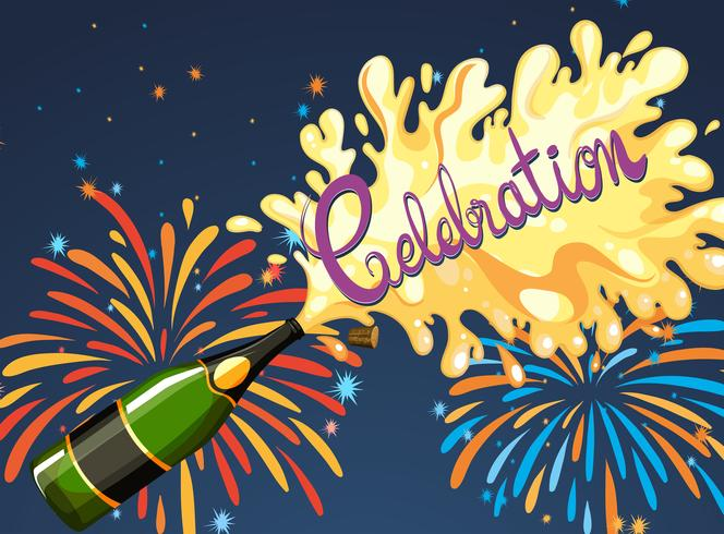 Vieringsnacht met vuurwerk en champagne