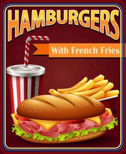 Placa de propaganda com hambúrgueres e batatas fritas