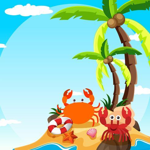 Szene mit Krabbe und Einsiedlerkrebs auf der Insel