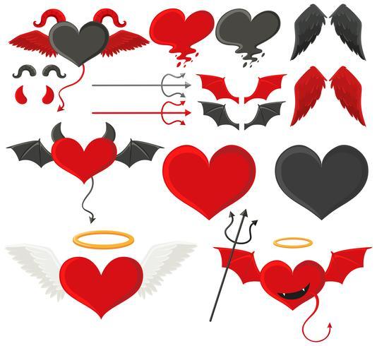 Schwarze und rote Herzen mit Flügeln