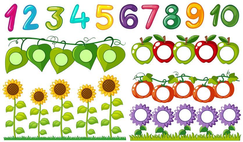 Número uno a diez con marcos de hojas y flores.