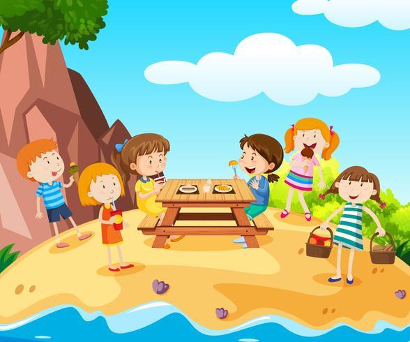 Feliz, crianças, tendo almoço, ligado, ilha