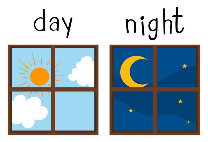 Gegenüberliegende Wordcard für Tag und Nacht