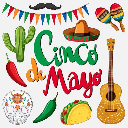 Modelo de cartão de cinco de mayo com chapéu mexicano e comida