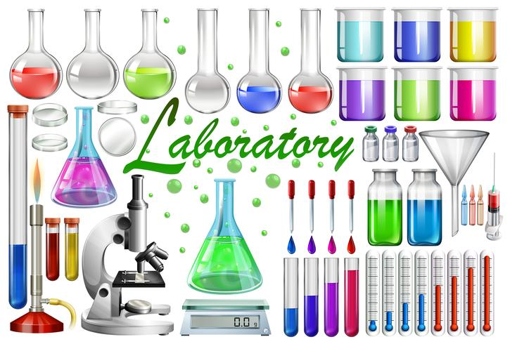 Laboratory tools and equipments vector