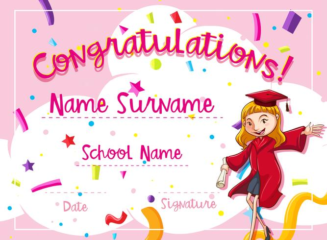 Certificate template with woman in red graduation gown