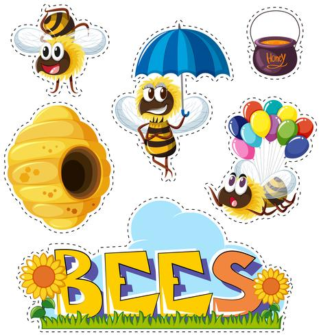 Sticker design with bees and beehive - Download Free Vector Art