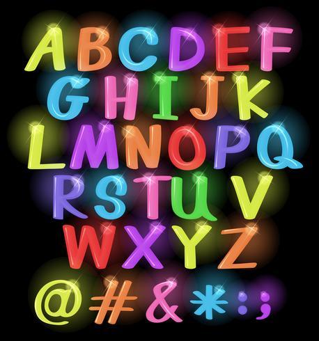 Letras de colores neón