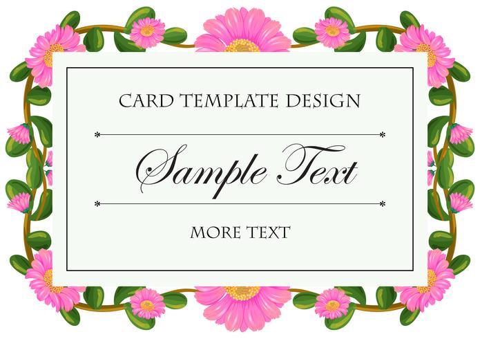 Card template with pink calendula frame