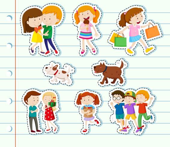 Klistermärke design med familj och vänner