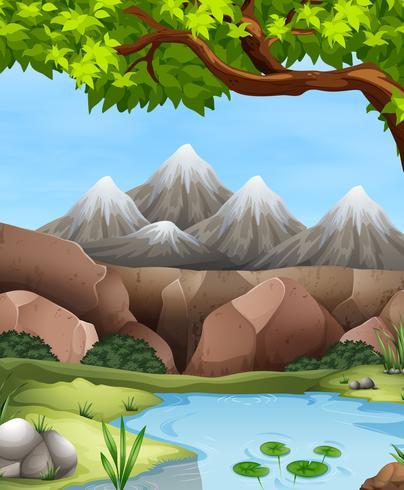 Scène met bergen en rivier