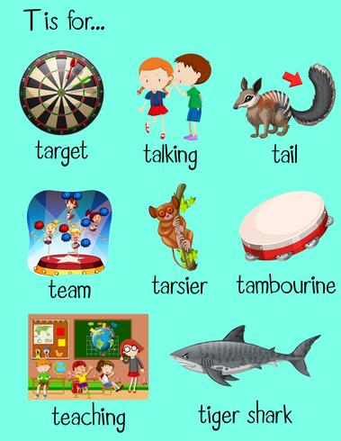 Many words begin with letter t vector