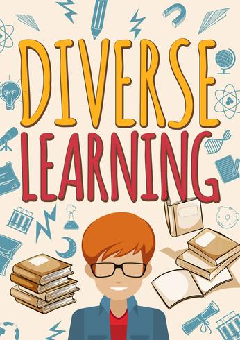 Diverse learning poster with student and books