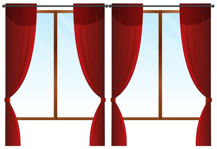 Windows mit roten Vorhängen vektor