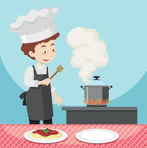 Macho chef cozinhar macarrão