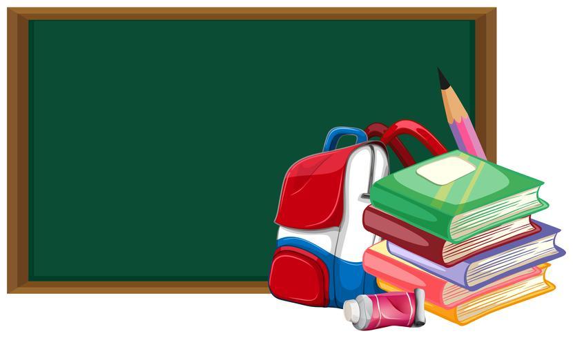 Blackboard och skolväska med böcker