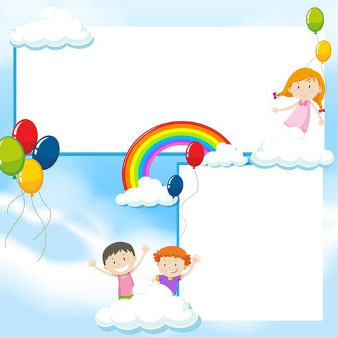 Banner template with kids and blue sky