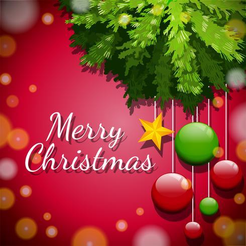 Tarjeta de feliz Navidad con adornos en el árbol