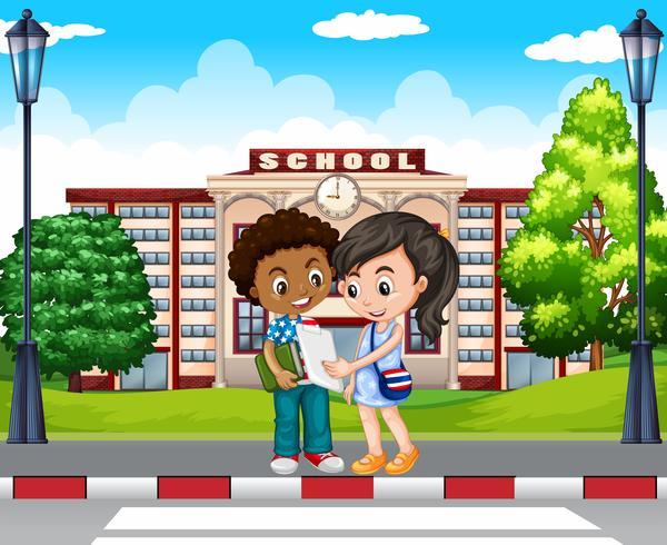 Twee kinderen voor de school