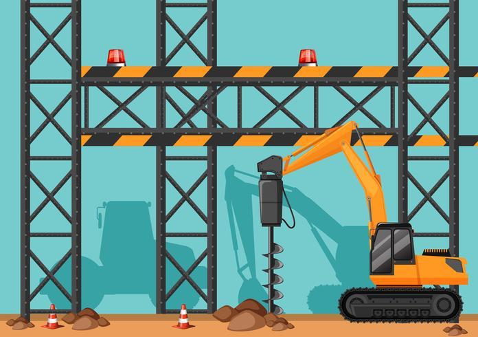 Emplazamiento de la obra con agujero de excavación de perforación