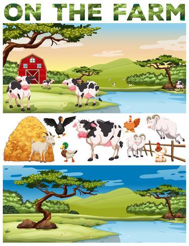 Tema de la granja con animales de granja y tierras de cultivo