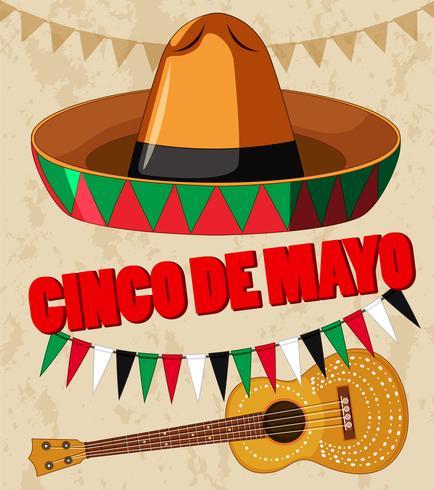 Cinco de Mayo affischdesign med gitarr och hatt