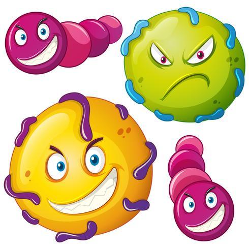 Bacteriën met een boos gezicht