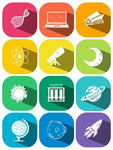 Simboli di scienza sulle icone di colore