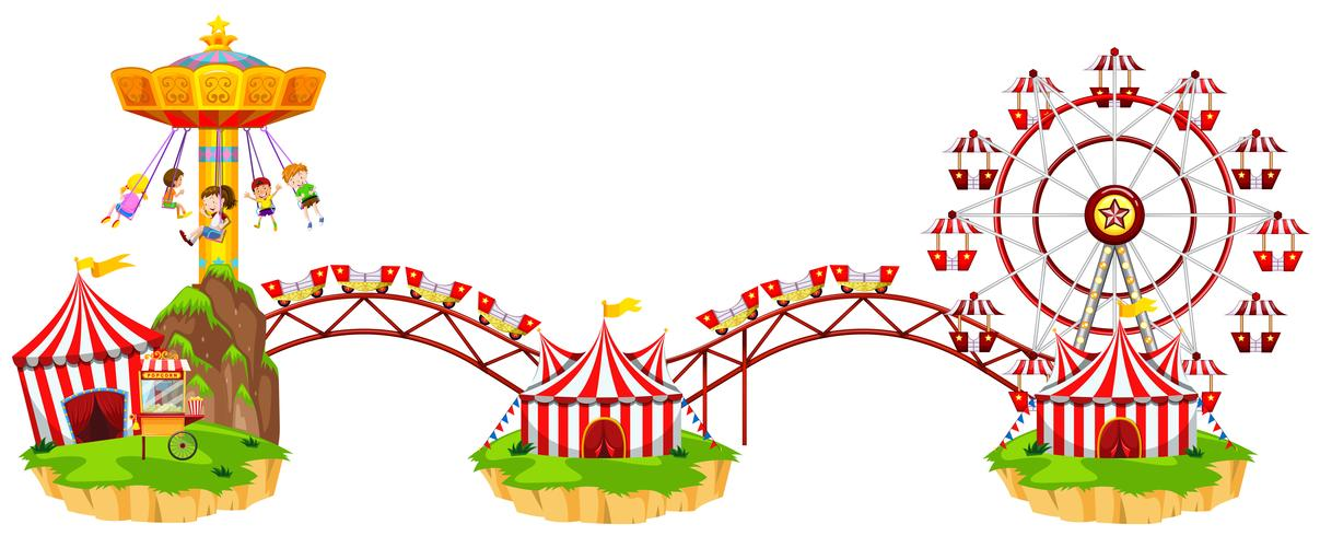 Circus scene with many rides