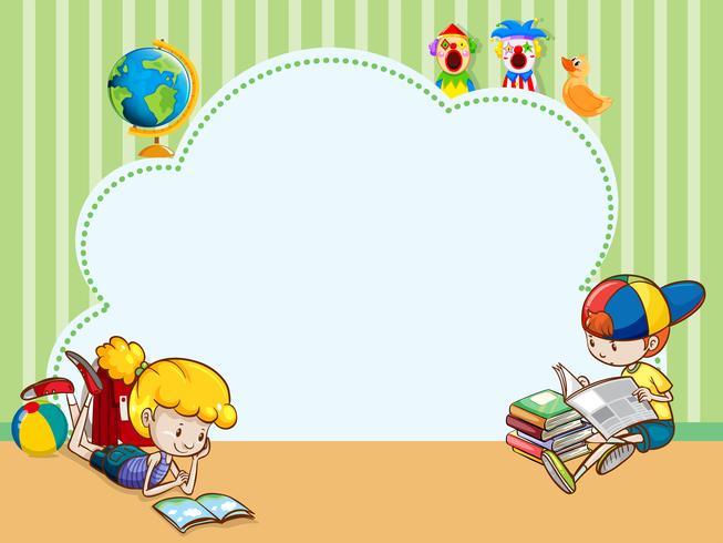 Grensmalplaatje met kinderen die boeken lezen