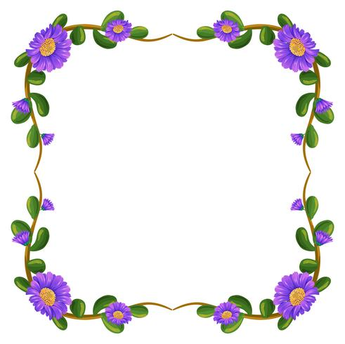 Un margen floral con flores violetas.