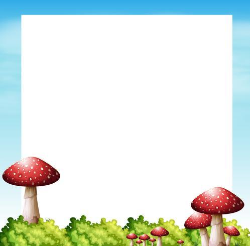 Border design with mushrooms and bush