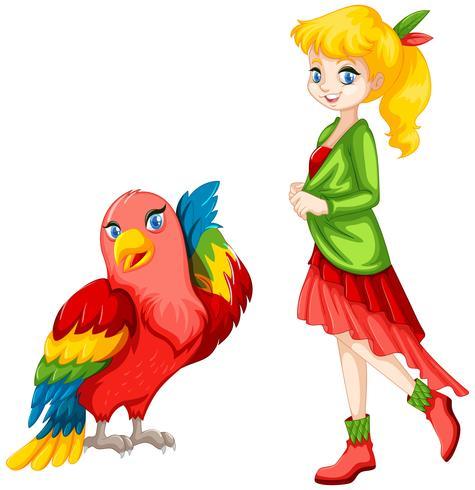 Leuk meisje en kleurrijke papegaai