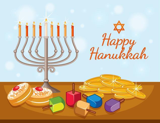 Modello di carta felice Hanukkah con candele e monete vettore