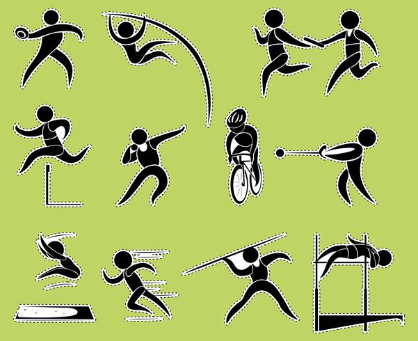 Sticker design with track and field sports vector