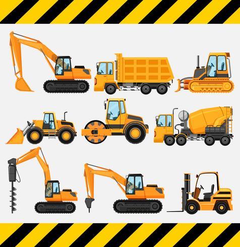 Diferentes tipos de camiones de construcción. vector