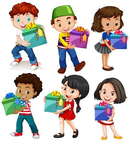 Jongens en meisjes met huidige dozen vector