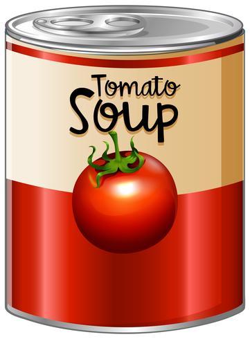 Sopa de tomate en lata de aluminio.